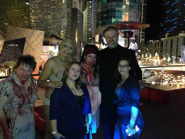Dan Yeager, right, with characters at Eil Roth's Goretorium.