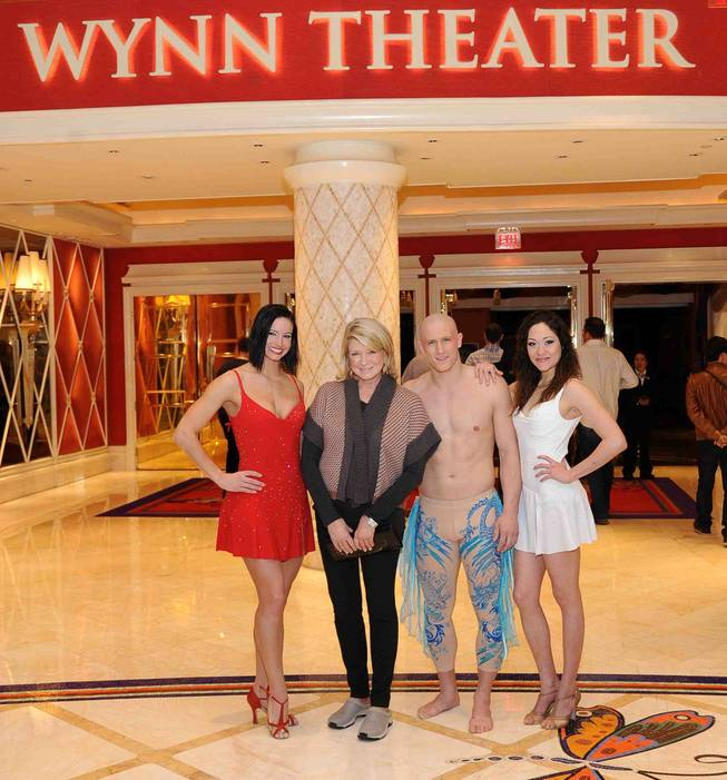 "Martha Stewart, second from left, with cast members of ""Le Reve -- The Dream"" at Wynn Las Vegas."