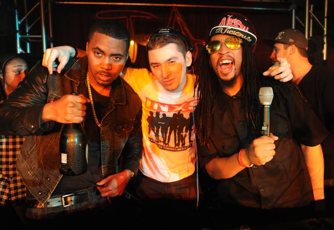 Nas, DJ Politik and Lil Jon at Marquee at the 2013 Sundance Film Festival in Park City, Utah.