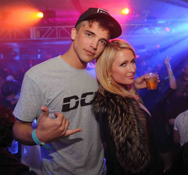 River Viiperi and Paris Hilton at Tao at the 2013 Sundance Film Festival in Park City, Utah.