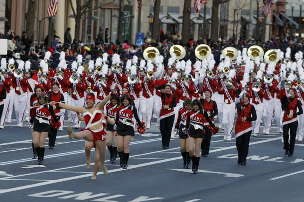 The Miami University, Ohio, Marching Band marching band performs during President Barack Obama's inaugural parade after his ceremonial swearing-in ceremony during the 57th Presidential Inauguration.