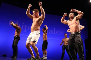 Men practice a dance routine during auditions for the Chippendales World Tour at the Chippendales Theater inside The Rio in Las Vegas on Wednesday, Jan. 23, 2013.