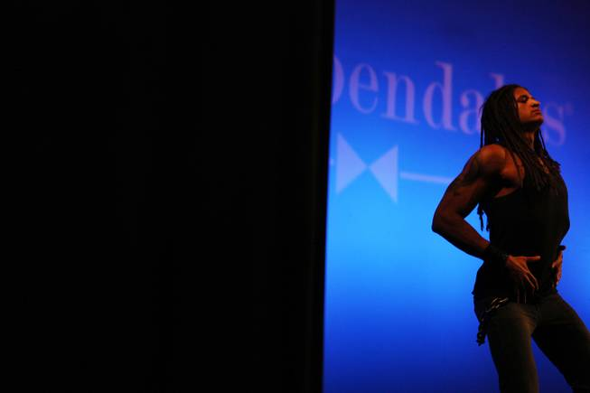 Rob Moran of Las Vegas performs a dance routine during auditions for the Chippendales World Tour at the Chippendales Theater inside The Rio in Las Vegas on Wednesday, Jan. 23, 2013.