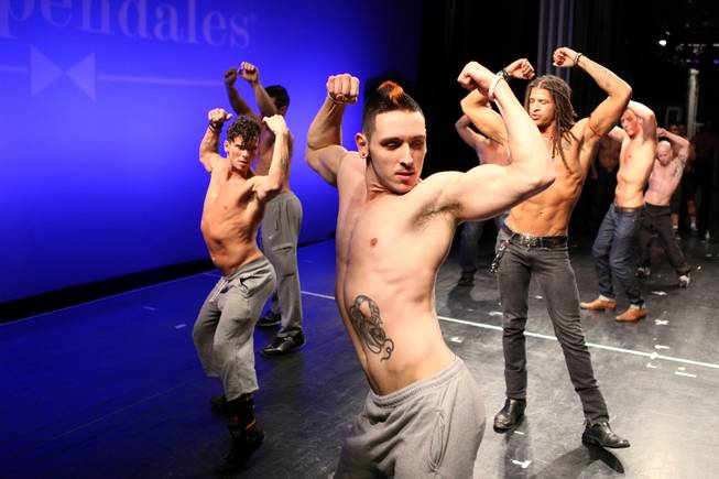Michael Amar of Las Vegas performs a dance routine during auditions for the Chippendales World Tour at the Chippendales Theater inside The Rio in Las Vegas on Wednesday, Jan. 23, 2013.
