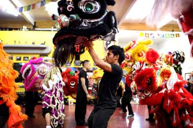 Student Joey DeChavez practices the lion dance for Chinese New Year at Lohan School of Shaolin in Las Vegas on Thursday, January 24, 2013.