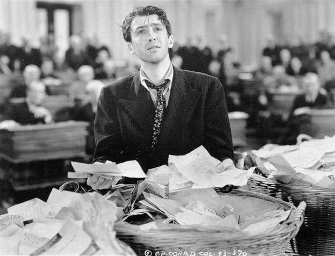 "This undated black-and-white file photo provided by Columbia shows James Stewart in a scene from the movie: ""Mr. Smith Goes to Washington.""  The Senate has more filibusters than ever these days. But you'd hardly know it by watching the chamber on C-SPAN. Filibusters are procedural delays that outnumber lawmakers, used to try killing bills and nominations. They seldom look like the exhausted talkathon waged by the devoted senator portrayed by Stewart."
