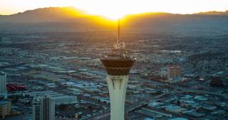 The Strip at sunset as photographed by Tom Donoghue aboard a Maverick Helicopter on Thursday, Jan. 17, 2013.