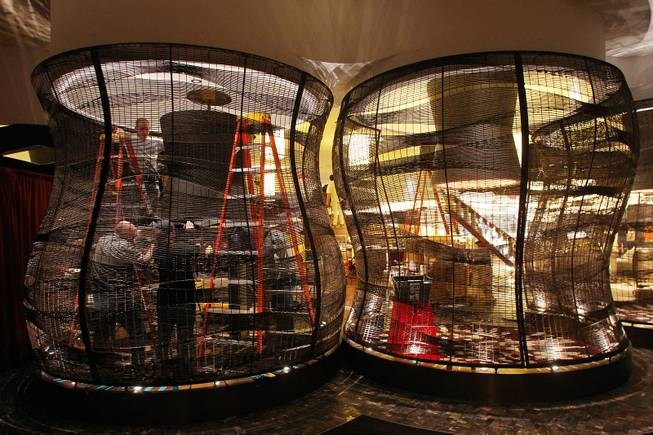 Workers put finishing touches on the new Nobu restaurant at Caesars Friday, Jan. 25, 2013.