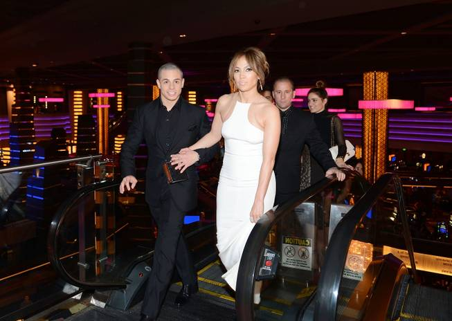 "Casper Smart and  Jennifer Lopez arrive at the premiere of her film ""Parker"" at Planet Hollywood on Thursday, Jan. 24, 2013."