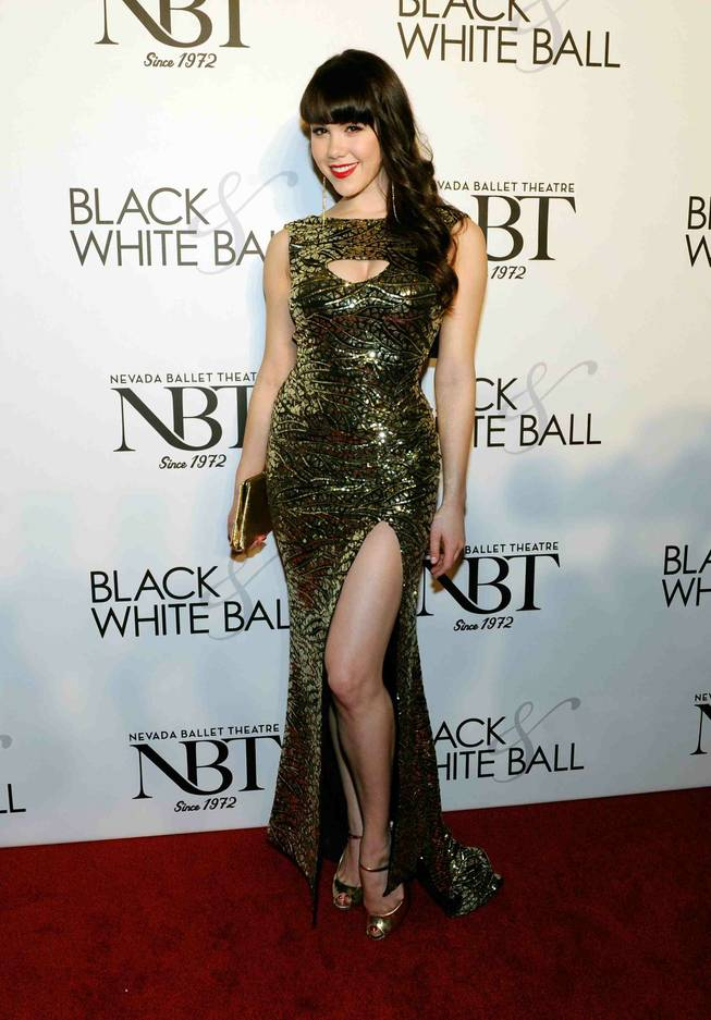 2011 Playboy Playmate of the Year Claire Sinclair arrives at Nevada Ballet Theater's 29th Annual Black & White Ball honoring Woman of the Year Mitzi Gaynor at the Bellagio on Saturday, Jan. 26, 2013.