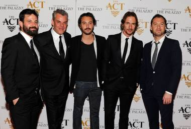 Simon Hammerstein, Danny Huston, Jack Huston, Thomas Hayo and Jude Law arrive at the official Lady Gaga concert after-party at The Act in the Palazzo on Saturday, Jan. 26, 2013.