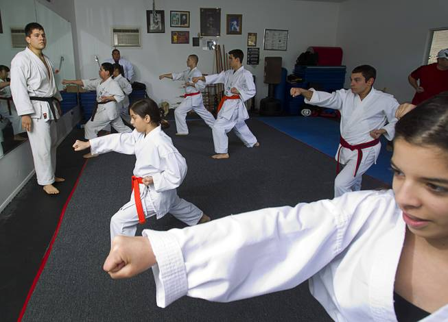 Shorin-ryu karate instructor Andy Dowdell, a fifth degree black belt, watches students during a class at his home Sunday, Jan. 27, 2013.