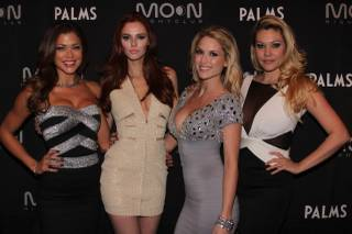 Hilary Cruz, Alyssa Campanella, Tara Conner and Shanna Moakler at Moon in the Palms on Saturday, Jan. 26, 2013.