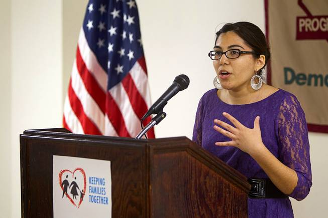 Dreamer Blanca Gamez speaks during a news conference calling for immigration reform at the Progressive Leadership Alliance of Nevada (PLAN) offices in downtown Las Vegas Monday, Jan. 28, 2013.