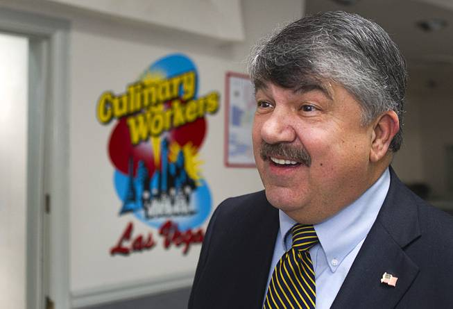 AFL-CIO President Richard Trumka responds to questions during an interview following a gathering of union leaders, working families and community partners at the Culinary Workers Local 226 union hall Tuesday, Jan. 29, 2013.