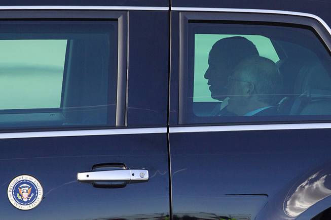 President Barack Obama rides with Secretary of the Interior Ken Salazar after to kicking off his public push for immigration reform in Las Vegas, Nevada Tuesday, Jan. 29, 2013.