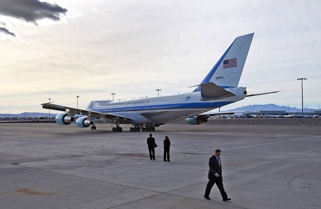 Air Force One taxis to a runway as President Barack Obama leaves McCarran International Airport after to kicking off his public push for immigration reform in Las Vegas, Nevada Tuesday, Jan. 29, 2013.
