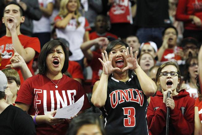 UNLV fans jeer as the UNR basketball team takes the court before their game Tuesday, Jan. 29, 2013 at the Thomas & Mack.
