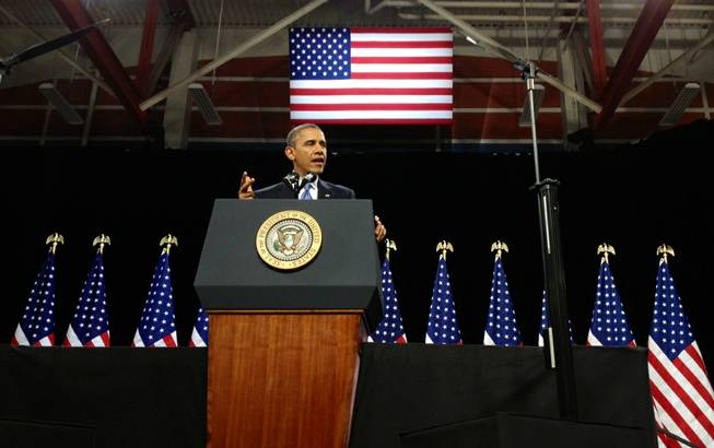President Obama speaking at Del Sol High School, Tuesday, Jan. 29, 2013.