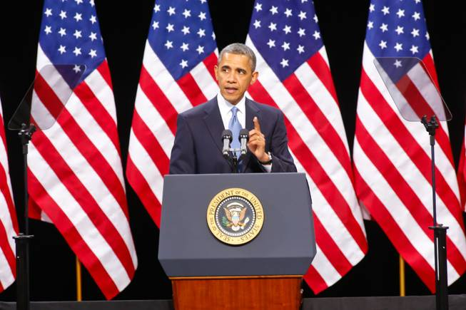 President Obama speaks at Del Sol High School, Tuesday. Jan. 29, 2013.
