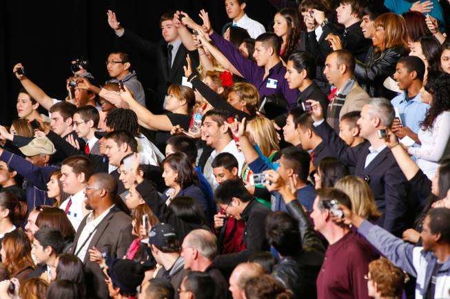 Obama supporters cheer as the president speaks at Del Sol High School, Tuesday. Jan. 29, 2013.