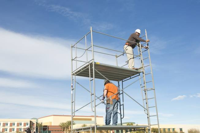 Students are recieving scaffolding training at the United Brotherhood of Carpenters' International Training Center, Tuesday. Jan. 29, 2013.