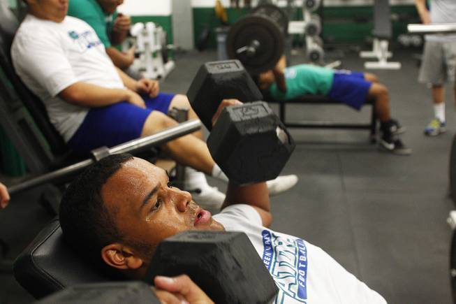 Green Valley High School football and basketball player Tyrell Crosby works out January 30, 2013.
