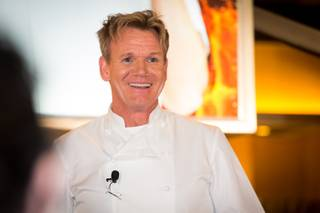 Gordon Ramsay hosts a tour at Gordon Ramsay BurGR in Planet Hollywood on Sunday, Jan. 27, 2013.
