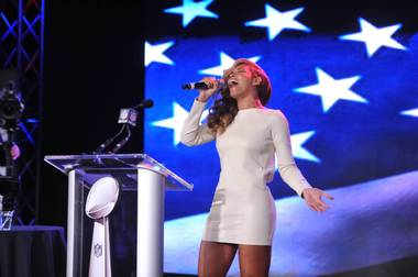 Beyonce meets the media — and sings the national anthem — in New Orleans on Thursday, Jan. 31, 2013, ahead of Super Bowl XLVII on Sunday.