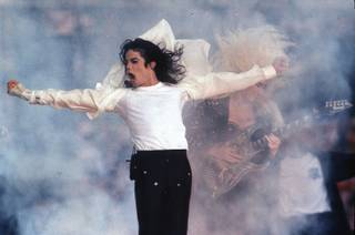 Pop superstar Michael Jackson performs during the halftime show at the Super Bowl in Pasadena, Calif., Feb. 1, 1993.