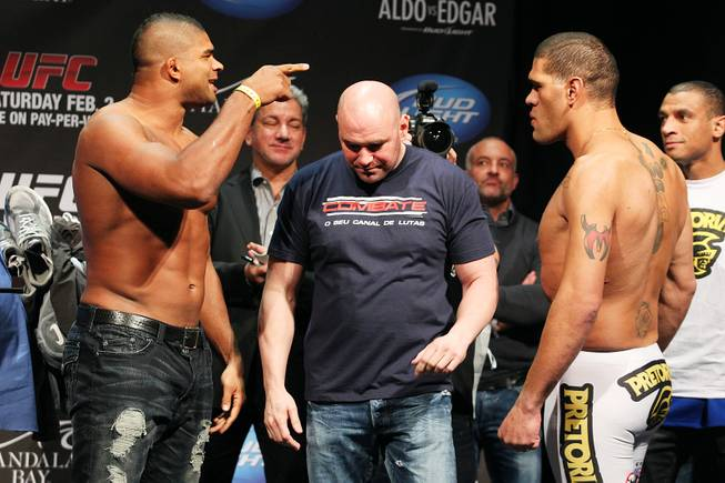 Heavyweight Alistair Overeem has words for Antonio Silva after facing off during weigh ins for UFC 156 Friday, Feb. 1, 2013.