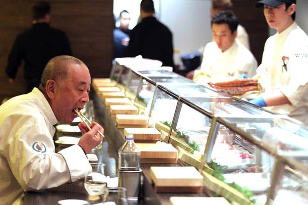 Chef Nobu Matsuhisa tastes some sushi at his new Nobu Restaurant at Caesars Palace in Las Vegas on Friday, February 1, 2013.