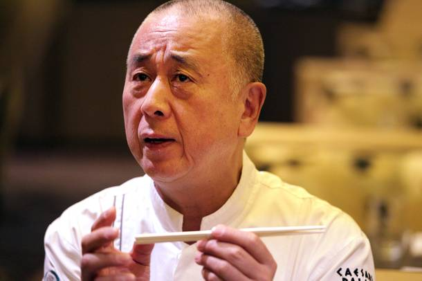 Chef Nobu Matsuhisa talks to his staff at the new Nobu Restaurant at Caesars Palace in Las Vegas on Friday, February 1, 2013.