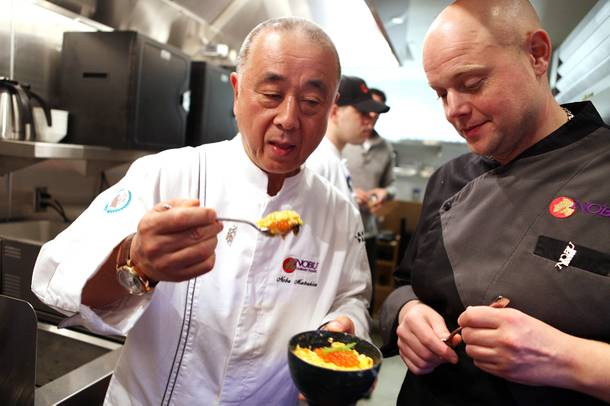 Chef Nobu Matsuhisa tasted the egg donburi he just prepared with Thomas Buckley, the corporate executive chef at the new Nobu Restaurant at Caesars Palace in Las Vegas on Friday, February 1, 2013.