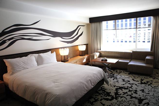 A standard king room at the Nobu Hotel at Caesars Palace in Las Vegas on Friday, Feb. 1, 2013.
