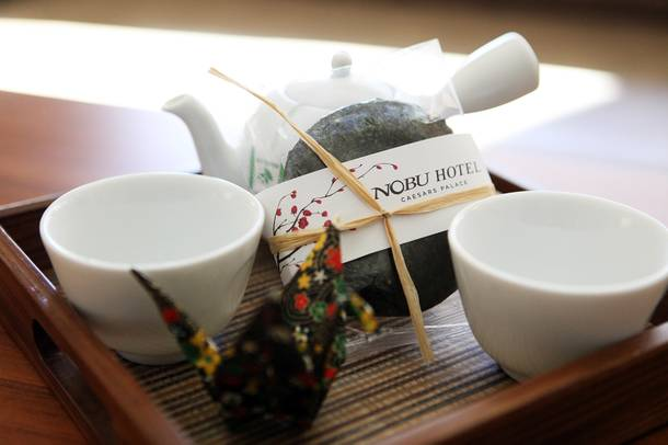 A tea set is in every room at the Nobu Hotel at Caesars Palace in Las Vegas on Friday, February 1, 2013.