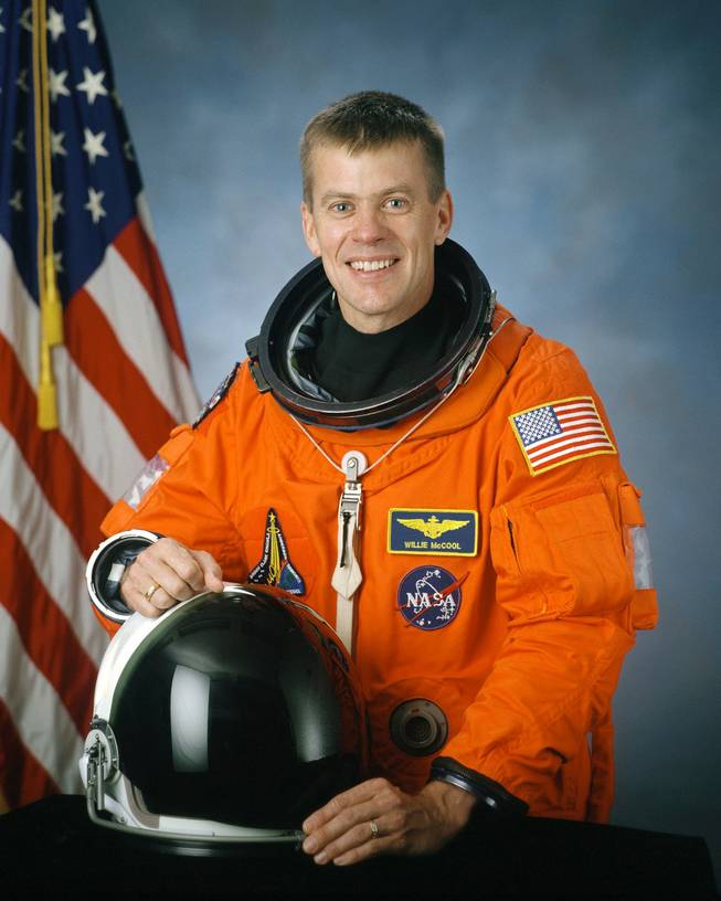 Pilot William McCool, 41, Navy commander from Lubbock, Texas, and father of three sons, who was one of the seven astronauts on the space shuttle Columbia, is seen in this undated handout photo from NASA.