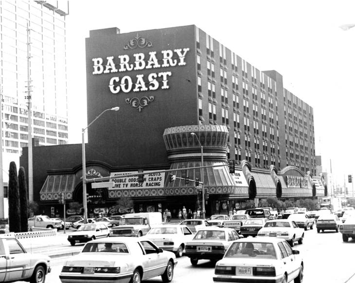 Barbary Coast, on the Northeast corner of Flamingo and the Strip, 1984. In 2007, the hotel and casino was renamed Bills Gamblin' Hall & Saloon.  SUN ARCHIVES