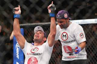 Rogerio Nogueira celebrates his win over Rashad Evans after their fight at UFC 156 Saturday, Feb. 2, 2013 at the Mandalay Bay Events Center. Nogueira won by decision.