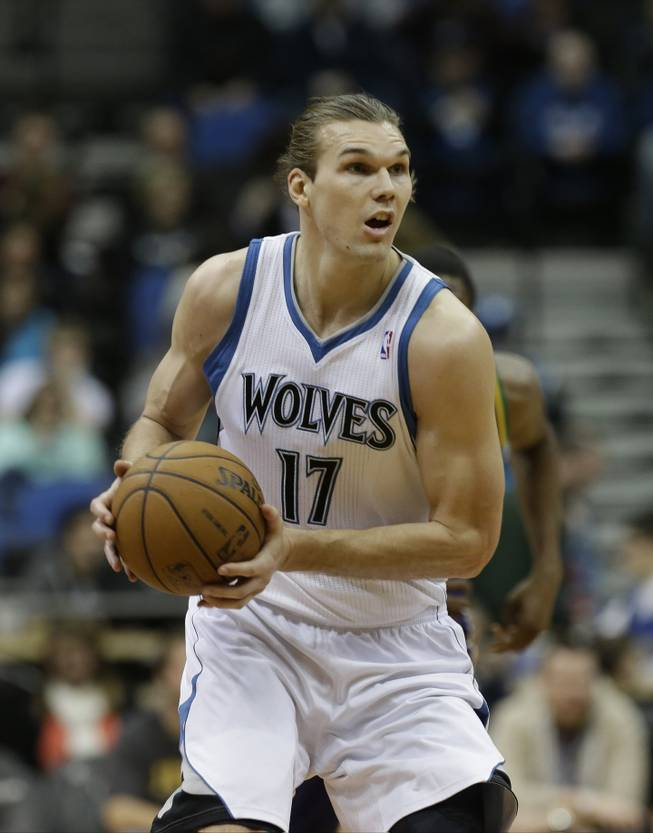 Minnesota Timberwolves' Lou Amundson is shown in the second half of an NBA basketball game against the New Orleans Hornets on Saturday, Feb. 2, 2013 in Minneapolis. The Timberwolves won 115-86.