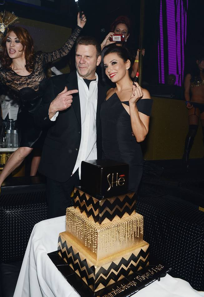 Tilman Fertitta and Eva Longoria celebrate SHe by Morton's grand opening at Crystals in CityCenter on Saturday, Feb. 2, 2013.
