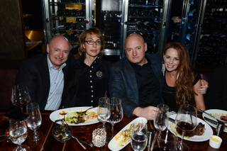 Mark Kelly, Gabrielle Giffords, Scott Kelly and Amiko attend SHe by Morton's grand opening at Crystals in CityCenter on Saturday, Feb. 2, 2013.
