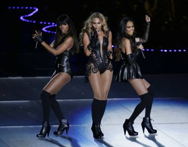 Kelly Rowland, Beyonce and Michelle Williams perform during the Pepsi Super Bowl XLVII Halftime Show at Mercedes-Benz Superdome in New Orleans on Sunday, Feb. 3, 2013.