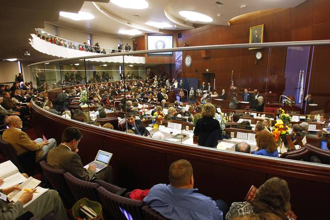 The assembly stands in recess on the first day of the 2013 legislative session Monday, Feb. 4, 2013 in Carson City.