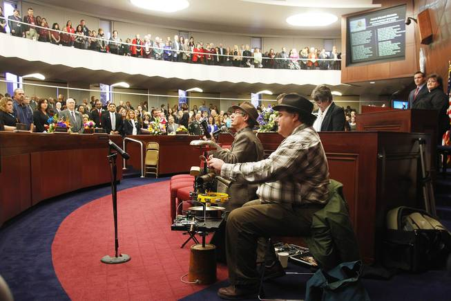"C.W. and Mr. Spoons perform ""Home Means Nevada"" on the first day of the 2013 legislative session Monday, Feb. 4, 2013 in Carson City."