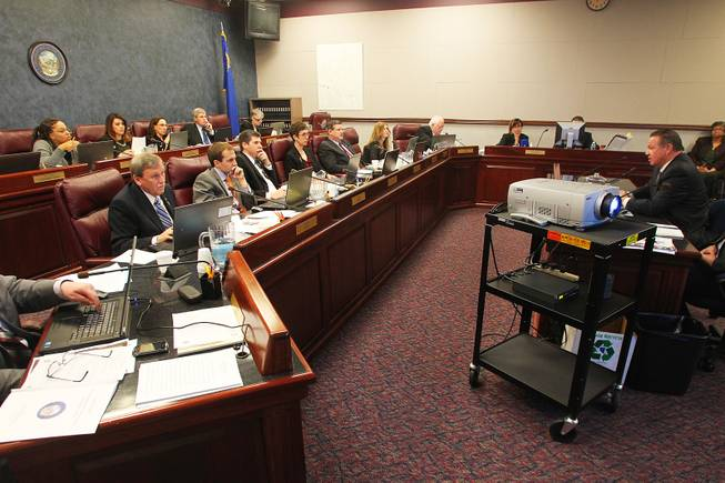 Executive Secretary Treasurer of the Nevada State AFL-CIO Danny Thompson testifies before a meeting of the Government Affairs Committee on the second day of the 2013 legislative session Tuesday, Feb. 5, 2013 in Carson City.