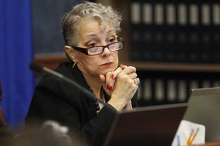 Assemblywoman Peggy Pierce listens to testimony during a meeting of the Government Affairs Committee on the second day of the 2013 legislative session Tuesday, Feb. 5, 2013 in Carson City.