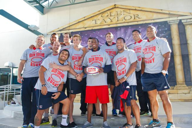 The USA Eagels Rugby Team attends a pep rally hosted by students at Glen Taylor Elementary School, Tuesday Feb. 5, 2013.