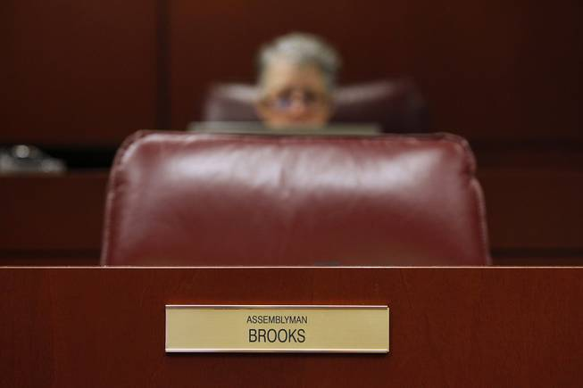 Assemblyman Steven Brooks chair sits empty after he left a meeting of the Health and Human Services Committee on the third day of the 2013 legislative session Wednesday, Feb. 6, 2013 in Carson City.