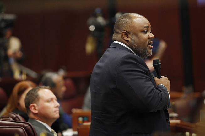 Assemblyman Jason Frierson addresses a bill to allow lawmakers to voluntarily take a pay cut during the third day of the 2013 legislative session Wednesday, Feb. 6, 2013 in Carson City.